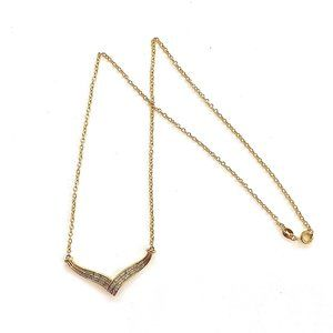 Gold Tone Necklace Stamped BR SUN